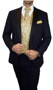 Blue wedding suit for men | tuxedo set 6pcs (Slim Fit) + Wedding vest gold paisley