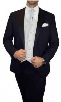 Groom wedding suit tuxedo blue with white paisley waistcoat wedding vest