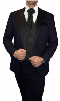 Groom wedding suit tuxedo blue with black paisley waistcoat wedding vest