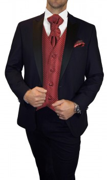 Groom wedding suit tuxedo blue with red black dotted waistcoat wedding vest