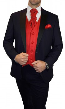 Groom wedding suit tuxedo blue with red striped waistcoat wedding vest