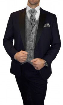 Groom wedding suit tuxedo blue with gray paisley waistcoat wedding vest