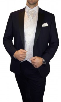 Groom wedding suit tuxedo blue with ivory floral waistcoat wedding vest