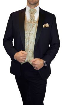 Blue wedding suit for men | tuxedo set 6pcs (Slim Fit) + Wedding vest cappuccino floral