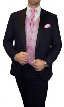 Blue wedding suit for men | tuxedo set 6pcs (Slim Fit) + Wedding vest pink paisley