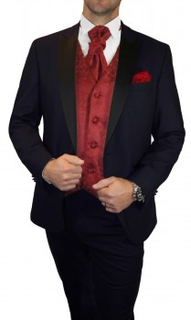 Groom wedding suit tuxedo blue with bordeux floral waistcoat wedding vest
