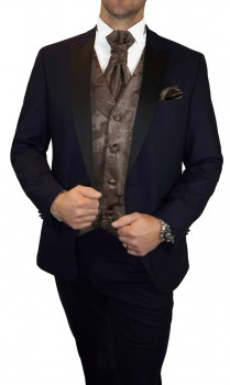 Blue wedding suit for men | tuxedo set 6pcs (Slim Fit) + Wedding vest brown paisley