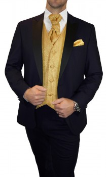 Blue wedding suit for men | tuxedo set 6pcs (Slim Fit) + Wedding vest gold barock