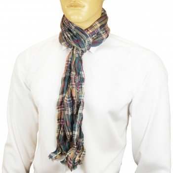 Men Crinkle Scarf yellow blue red checkered HS13