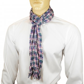 Men Crinkle Scarf purple green red checkered HS18