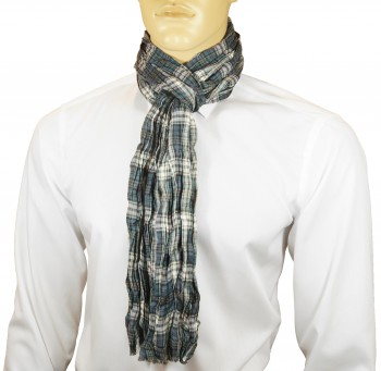 Men Crinkle Scarf blue white red checkered HS22