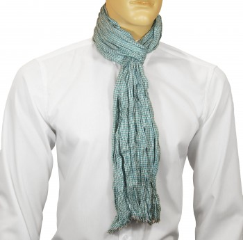 Men Crinkle Scarf  turquoise white checkered HS40