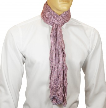 Men Crinkle Scarf berry purple white checkered HS44