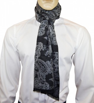 Men Scarf black grey paisley HS45