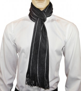 Men Scarf anthracite white striped HS56