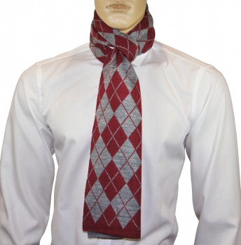 Men Scarf red grey checkered HS58