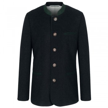Traditional german mens jacket anthracite with stand-up collar and green contrast