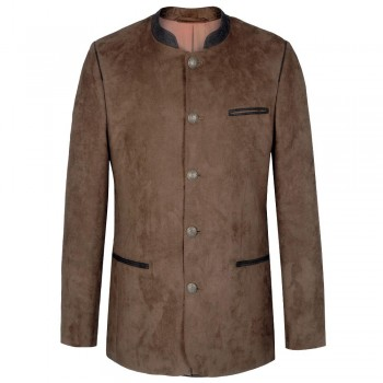 Traditional german mens jacket light brown - leather like