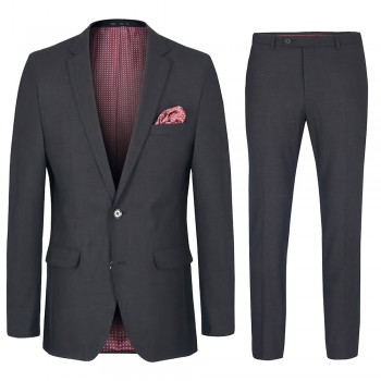 Mens suit anthracite | dress suit for men with AMF stitch