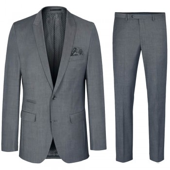 Mens suit light gray | dress slim fit suit for men with AMF stitch