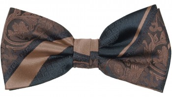 Men´s Bow Tie Pretied brown black baroque striped