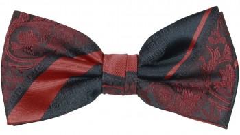 Men´s Bow Tie Pretied maroon red black baroque striped
