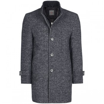 Man´s winter woll coat anthracite grey mottled