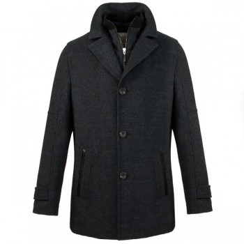 Navy blue Men's winter jacket with wool
