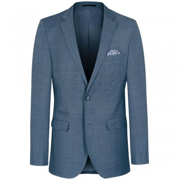 Mens sports jacket gray blue | slim fit dress suit jacket for men with AMF stitch
