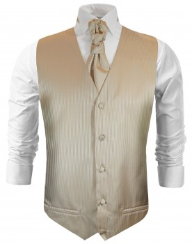 Cappuccino wedding tuxedo vest with ascot tie v28