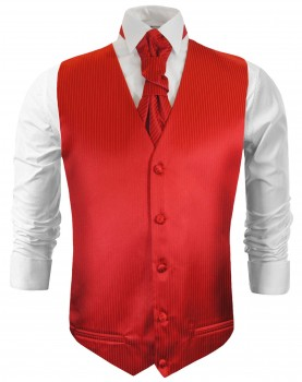 tuxedo vest red wedding waistcoat and ascot tie v24