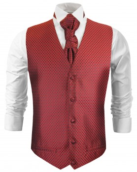 tuxedo vest red polka dots wedding waistcoat and ascot tie v22