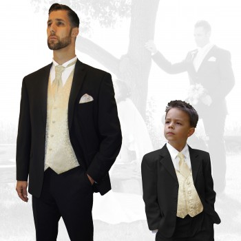 Partner combi - black and champagne wedding suit with waistcoat set and shirt + boys suit and vest set
