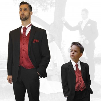 Partner Combi Black And Ivory Wedding Suit With Waistcoat