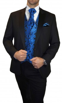 Wedding tuxedo / suit set 6pcs black SLIM FIT incl. Wedding vest black blue paisley