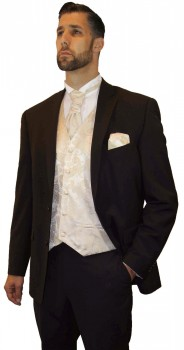 Wedding suit tuxedo brown with cream waistcoat wedding vest