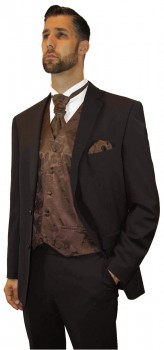 Brown men´s suit tuxedo | brown paisley vest set | wedding shirt