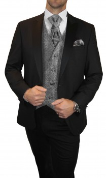 Wedding tuxedo / suit set 6pcs black SLIM FIT incl. Wedding vest grey paisley
