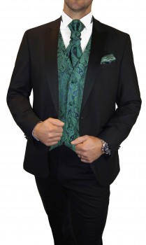 Wedding tuxedo / suit set 6pcs black SLIM FIT incl. Wedding vest green paisley