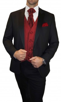 Wedding tuxedo / suit set 6pcs black SLIM FIT incl. Wedding vest red paisley