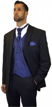 Groom wedding suit tuxedo black with blue waistcoat wedding vest