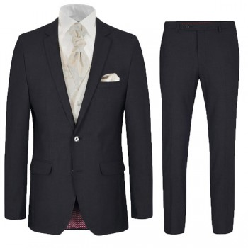 Wedding suit set 6pcs black SLIM FIT incl. Wedding vest ivory paisley - modern AMF stitch