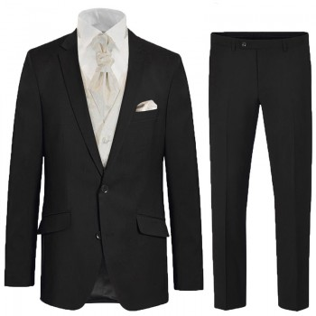 Elegant black Suit with ivory paisley waistcoat set - mens wedding suit set 6 pcs 100% virgin wool