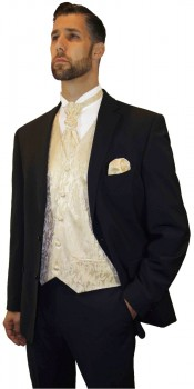 Wedding tuxedo black with shadow stripes with cream gold vest set and shirt