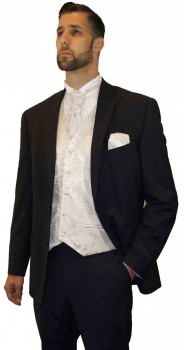 Wedding tuxedo black with shadow stripes with off white vest set and shirt