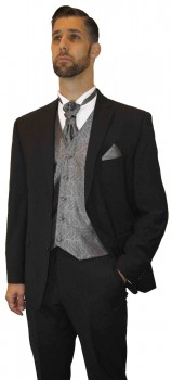 Wedding tuxedo black with shadow stripes with silver gray vest set and shirt
