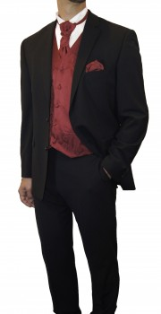 Partner combi - black and maroon red wedding suit with waistcoat set and shirt + boys suit and vest set