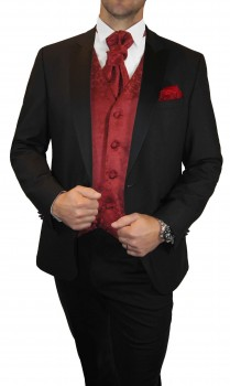 Wedding tuxedo / suit set 6pcs black SLIM FIT incl. Wedding vest red floral