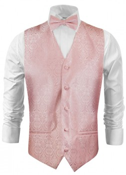 Wedding waistcoat - vest with bow tie pink baroque