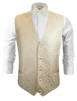 Champagne wedding vest floral waistcoat with bow tie